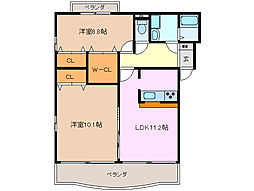 三重県四日市市富田3丁目の賃貸マンションの間取り