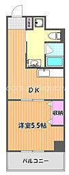 JR宇野線 大元駅 徒歩8分の賃貸マンション 4階1DKの間取り