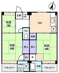 ビレッジハウス勝田4号棟[4階]の間取り
