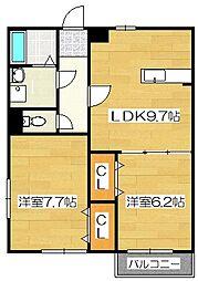 福岡県太宰府市国分3丁目の賃貸アパートの間取り