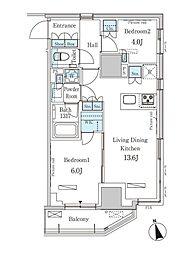 東京メトロ銀座線 表参道駅 徒歩13分の賃貸マンション 4階2LDKの間取り