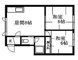 北海道札幌市豊平区月寒西二条9丁目の賃貸アパートの間取り