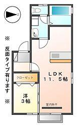 長野県上田市中央北2丁目の賃貸アパートの間取り
