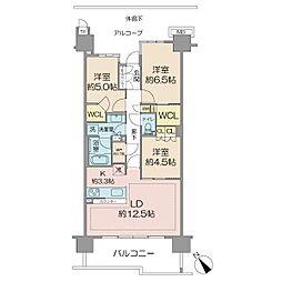 オーベルグランディオ吉祥寺 II 4階3LDKの間取り