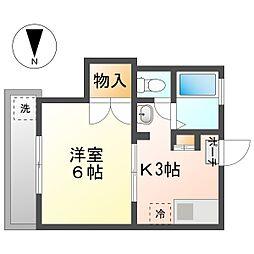 メイフェアー鹿島田NO6 2階1Kの間取り
