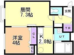 アビタ22 真栄1−2 4階1LDKの間取り