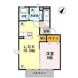 神奈川県大和市南林間1丁目の賃貸アパートの間取り