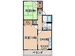 京都府京都市山科区小野荘司町の賃貸アパートの間取り