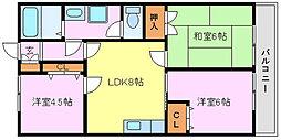 ボヌール上野芝[1階]の間取り