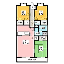 静岡県静岡市葵区瀬名7丁目の賃貸マンションの間取り