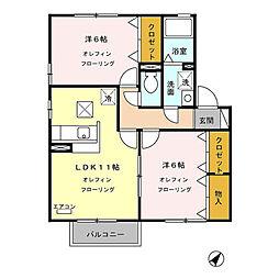 ロランジュ千曲(上山田温泉)A棟[102号室号室]の間取り