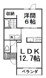 PiattoIII 2階1LDKの間取り