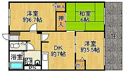 兵庫県宝塚市山本丸橋1丁目の賃貸アパートの間取り
