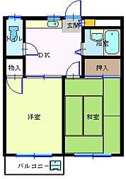 コーポ中宿[202号室]の間取り