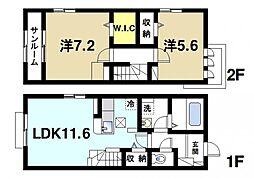 谷戸建B 1階2LDKの間取り