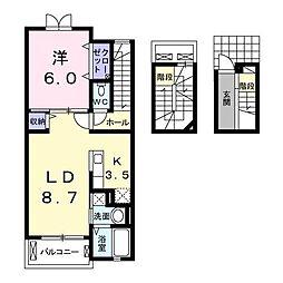 埼玉県川越市大字的場大字的場字宿の賃貸アパートの間取り