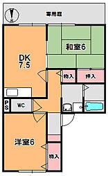 セジュール大安寺[1階]の間取り