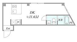 JR京浜東北・根岸線 川崎駅 徒歩8分の賃貸マンション 2階1DKの間取り