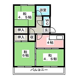 中駒九番団地4号棟[1階]の間取り
