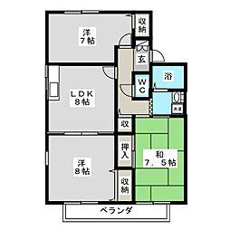 ハピネス A棟[2階]の間取り