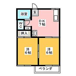 チェリーアイランド桜島A[2階]の間取り