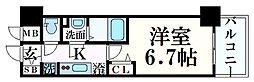 プレサンス THE 神戸 6階1Kの間取り
