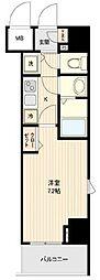 東京メトロ有楽町線 新富町駅 徒歩4分の賃貸マンション 2階1Kの間取り
