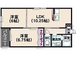 グラレオン鶴田[3階]の間取り