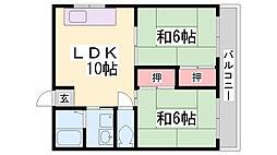 上祇園ハイツ[303号室]の間取り