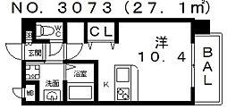 大阪府大阪市住吉区長居東3丁目の賃貸マンションの間取り
