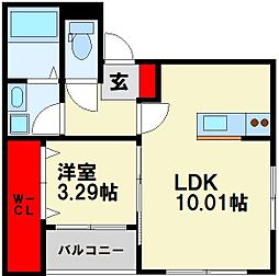 JR筑豊本線 若松駅 徒歩18分の賃貸アパート 1階1LDKの間取り