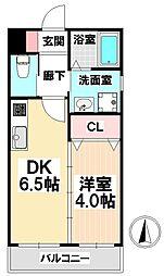 愛知県名古屋市瑞穂区洲山町1の賃貸マンションの間取り