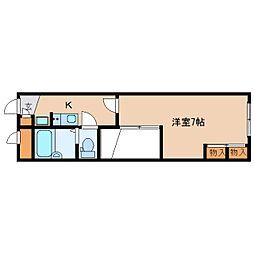 近鉄奈良線 近鉄奈良駅 バス26分 州見台7丁目下車 徒歩4分の賃貸マンション 1階1Kの間取り