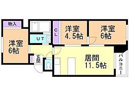 ミユキコート2 4階3LDKの間取り
