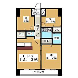 アークデュオ仙台苦竹[4階]の間取り
