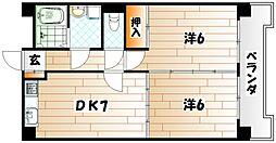エステート小倉南[2階]の間取り