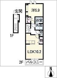 ルミエール中坪[2階]の間取り