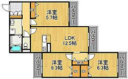 兵庫県宝塚市中筋山手4丁目の賃貸アパートの間取り