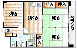 福岡県北九州市小倉南区徳力3の賃貸マンションの間取り