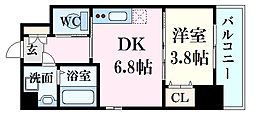 光町パークフロント 9階1DKの間取り