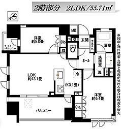ライオンズ東京根岸グランフォート[2階]の間取り