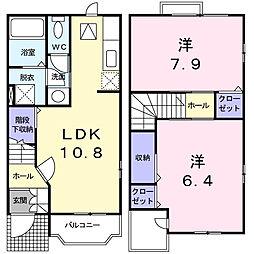 神奈川県横浜市栄区笠間5丁目の賃貸アパートの間取り