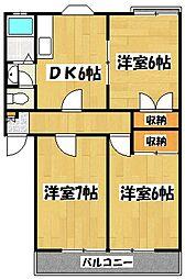埼玉県越谷市蒲生愛宕町の賃貸アパートの間取り
