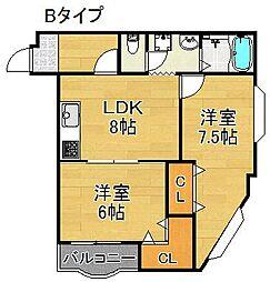 ルミナール加賀屋[3階]の間取り