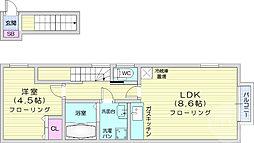 仙台市地下鉄東西線 薬師堂駅 徒歩5分の賃貸アパート 2階1LDKの間取り