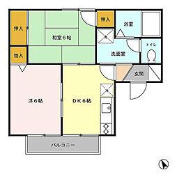 埼玉県ふじみ野市市沢2丁目の賃貸アパートの間取り