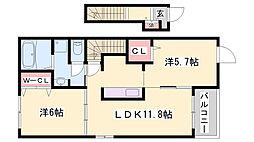 JR山陽本線 網干駅 バス7分 鵤下車 徒歩8分の賃貸アパート 2階2LDKの間取り
