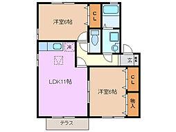三重県四日市市坂部が丘3丁目の賃貸アパートの間取り