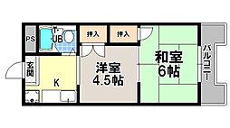 京都府京都市北区紫野西藤ノ森町の賃貸マンションの間取り