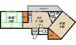 Osaka Metro今里筋線 鴫野駅 徒歩7分の賃貸マンション 3階2DKの間取り